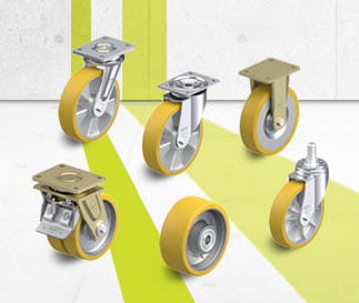 Wheels and castors with cast Blickle Extrathane polyurethane tread