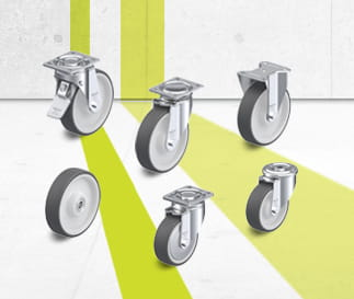 POTH wheels and castors series with injection-moulded polyurethane tread